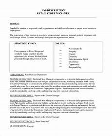Retail Worker Job Description Sample Store Manager Job Description 10 Examples In Pdf
