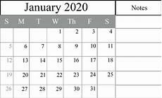 Calendar January December 2020 Free January 2020 Blank Calendar Printable Pdf Excel Word