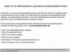 Letter Of Recommendation Administrative Assistant Entry Level Administrative Assistant Recommendation Letter
