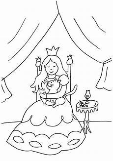 Ausmalbild Prinzessin Katze Kostenlose Malvorlage Prinzessin Prinzessin Und Katze Zum