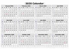 2020 Printable Year Calendar 2020 One Page Calendar Printable Calendar 2020