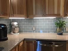 Light Blue Kitchen Tiles Smoky Blue Glass Tile Backsplash And Under Cabinet