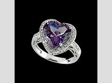 amethyst heart shaped diamond ring