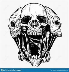 3 Skull Designs Skull Vector Illustration For Various Design Needs Stock