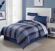 essential home 8 complete bed set blue plaid