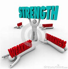 Strengths In A Person Strength Vs Weakness Person Lifting Word Strong Stock