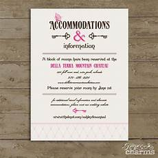 How To Word Hotel Accommodations For Wedding Invitations Wedding Accommodation Card Wording Wedding Prints