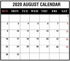 August 2020 Calendar With Holidays Free August 2020 Calendar Printable Template With