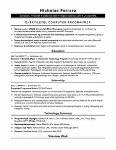 Entry Level Science Resumes Sample Resume For An Entry Level Computer Programmer