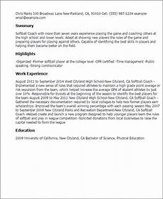 Softball Coach Resume 1 Softball Coach Resume Templates Try Them Now