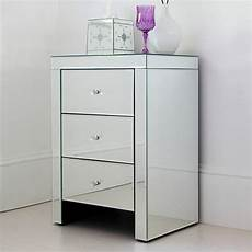 three drawer mirrored bedside table by out there interiors