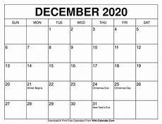 Free December 2020 Calendar Free Printable December 2020 Calendars
