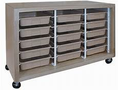 mobile tote tray cabinet with 15 trays