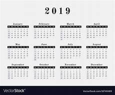A Year Calendar 2019 Year Calendar Horizontal Design Royalty Free Vector