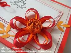 Ribbon Cards Handmade Cards By Archana Some More Ribbon Flowers