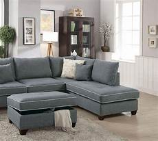 buy poundex f6542 sectional sofa set 3 pcs in gray fabric