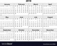 Calnder For 2010 Calendar Of 2010 Year Royalty Free Vector Image