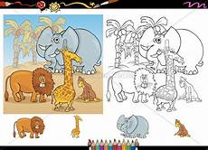 Ausmalbilder Kostenlos Afrikanische Tiere Afrikanische Tiere Ausmalbilder Satz Stock Photo