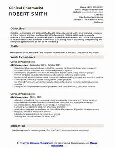 Resume Objective For Pharmacist Clinical Pharmacist Resume Samples Qwikresume