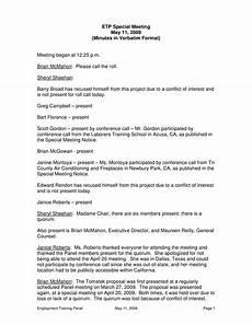 Format Of A Meeting Minutes Special Meeting Minutes Verbatim Format Templates At