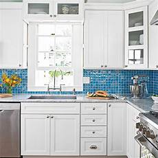 kitchen backsplash blue white kitchen with blue glass backsplash 9 breezy island