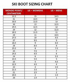 Sole Length Of Ski Boot Chart Ski Boot Size Chart Kids Amulette
