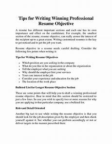 How To Write A Good Career Objective Professional Resume Objective Samplesprofessional Resume