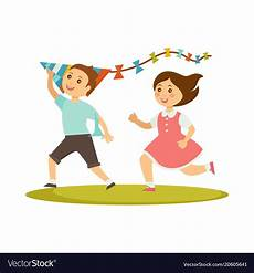 Playing Kids Cartoon Kids Playing With Kite Toy Cartoon Boy And Vector Image