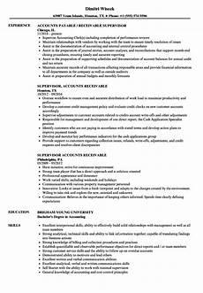 Accounts Receivable Resume Supervisor Accounts Receivable Resume Samples Velvet Jobs