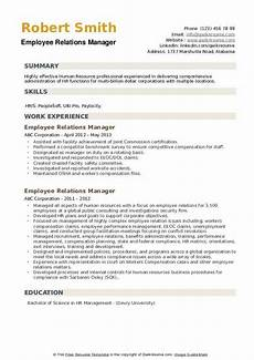 Employee Relations Manager Resume Samples Employee Relations Manager Resume Samples Qwikresume