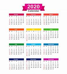 Yearly Calendar 2015 2020 2020 2020 Year Calendar Isolated On White Background Vector