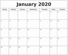 Images Of 2020 Calendar January 2020 Printable Calendar