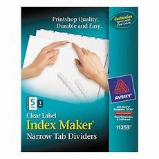 Avery Lable Maker Avery 11253 Index Maker Narrow 5 Tab White Unpunched