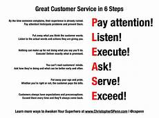 Excellent Customer Service Examples 6 Steps To Great Customer Service Customer Service