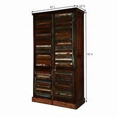 adeline rustic reclaimed wood four door shutter storage
