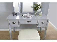 grey 3 mirror 3 drawers dressing table with stool set