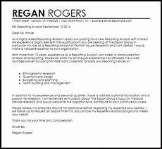 Cover Letter For A Report Reporting Analyst Cover Letter Sample Livecareer