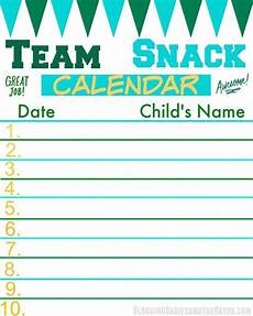 Printable Snack Sign Up Sheet Team Snack Calendar Perfect For The Team Or Sports
