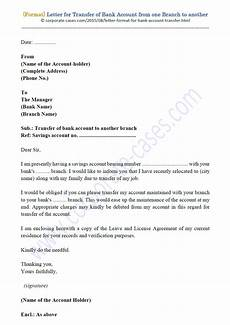 Transfer Letter Format From One Location To Another Letter Format Bank Account Transfer From One Branch To Another