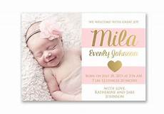 Baby Boy Birth Announcements Wording Pink And Gold Baby Girl Birth Announcement Card Digital