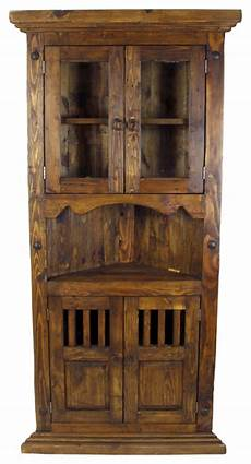 rustic wood corner cabinet with glass doors rustic