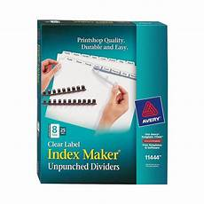 Avery Lable Maker Avery 11444 Clear Label Index Maker Unpunched Dividers