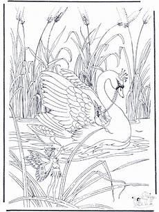 elfen auf schwan ausmalbilder elfen