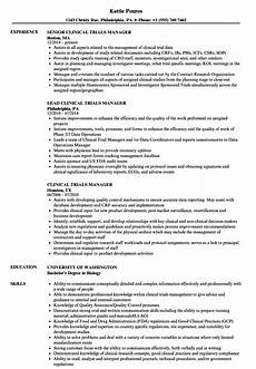 Clinical Trial Manager Resume Clinical Trials Manager Resume Samples Velvet Jobs