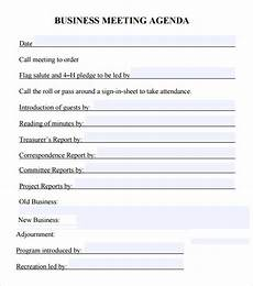 Business Meeting Template 6 Sample Business Meeting Agenda Templates To Download