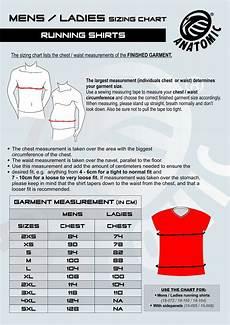 Anatomic Chart Mens Amp Ladies Running Shirt Sizing Chart Anatomic