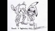 dessin quot stitch et pikachu quot