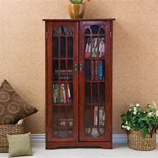media cabinet wood window pane glass doors storage
