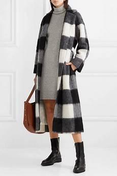 ganni checked brushed felt coat winter coat