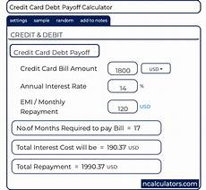 Credit Card Debt Payoff Calculator Credit Card Dept Payoff Calculator